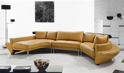 contemporary curved sectional sofa mustard leather
