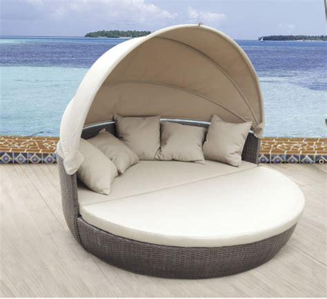 pool furniture with canopy waterproof sun bed rattan