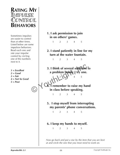 impulse activities worksheets for elementary
