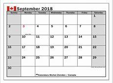 Calendar September 2018, Canada Michel Zbinden en