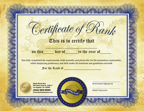 Martial Arts Certificate Template by Rank Certificate 8 5 X 11 Ma010502