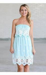 Sky Blue Crochet Lace Dress, Sky Blue Strapless Dress ...