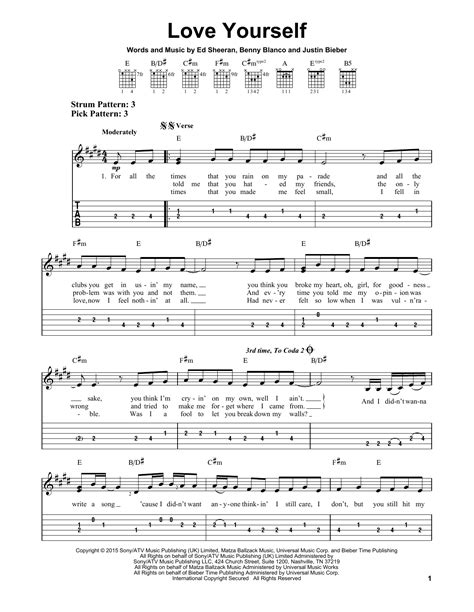 not angka lagu love yourself love yourself sheet music by justin bieber easy guitar tab 163991