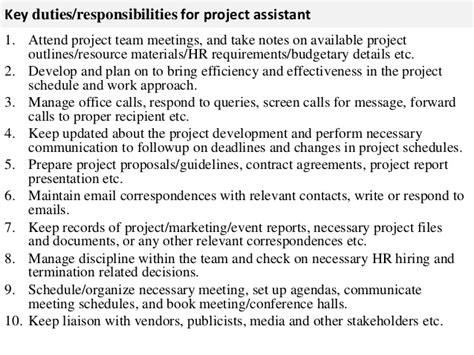 Hr Assistant Descriptions Duties by Project Assistant Description