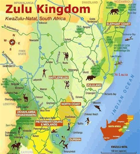 Kwazulu Natal Tourist Map
