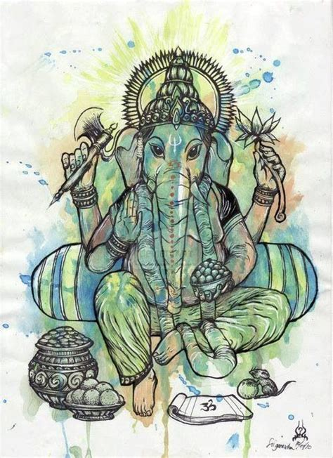 ganesha love  watercolor painting style art