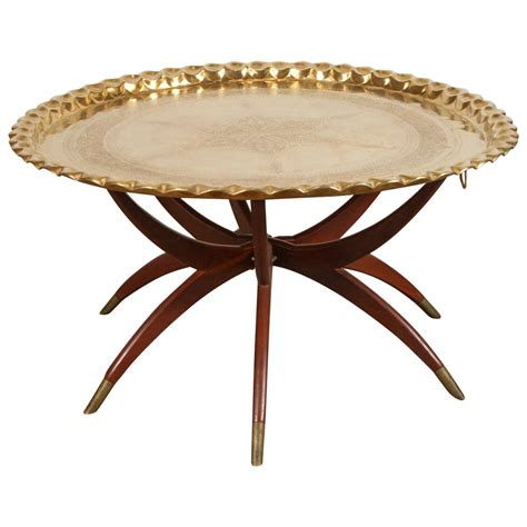 Large Round Brass Tray Table On Spider Folding Stand