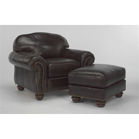 flexsteel 3648 10 bexley leather chair with nailhead trim