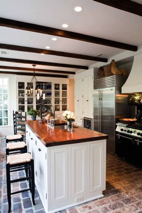 brick kitchen floor with white cabinets color outside the lines kitchen inspiration month day