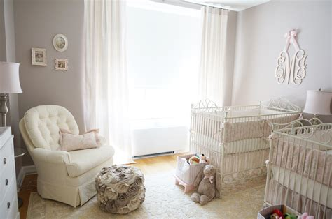 Pink, Ivory and Grey Twin Girls Nursery - Project Nursery