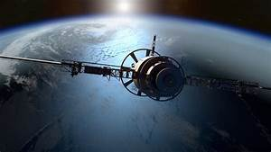 3d, Rendering, Of, A, Satellite, Orbiting, The, Earth