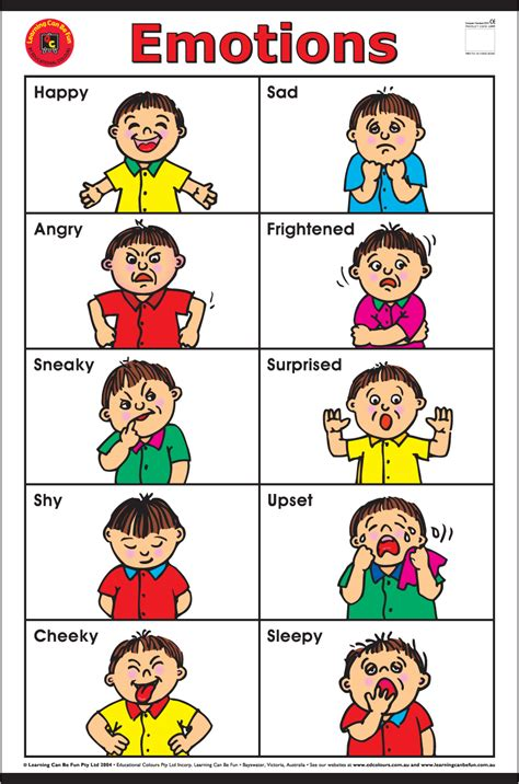 Emotions Chart For $1500  Wall Charts  Online Toy Store  Playsafe Kids