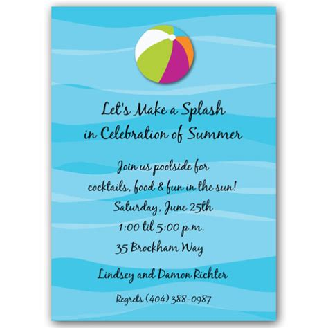 floating beach ball pool party invitations paperstyle