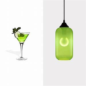 Green glass pendant lighting celebrates national margarita day