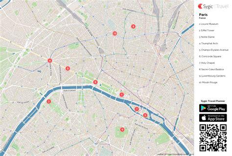 paris printable tourist map sygic travel