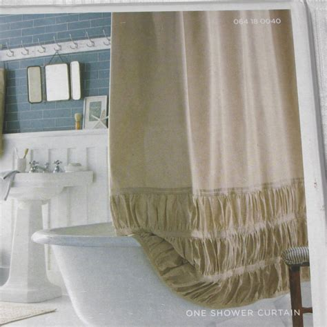 target home ruched solid khaki fabric shower curtain