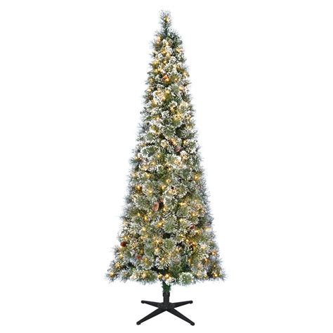 pre lit multi color led slim christmas tree home accents 7 ft pre lit led sparkling pine slim artificial tree with 300