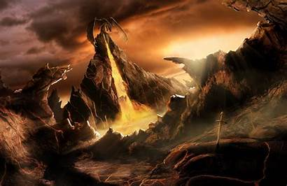 Dragons Dragon 3d Lair Volcanic Widescreen Background