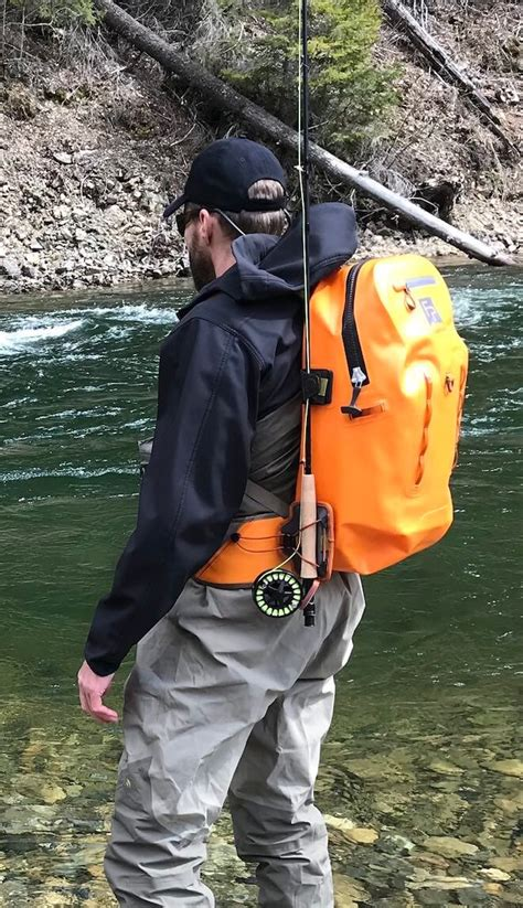 fishing backpack  ultimate guide man  fire