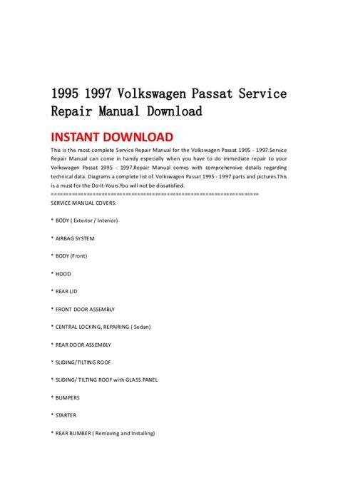 free online auto service manuals 1997 volkswagen passat security system 1995 1997 volkswagen passat service repair manual download