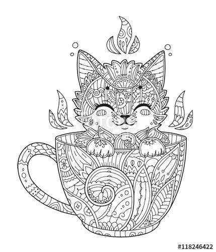 kitten  cup adult antistress coloring page  cat  zentangle style doodle animal