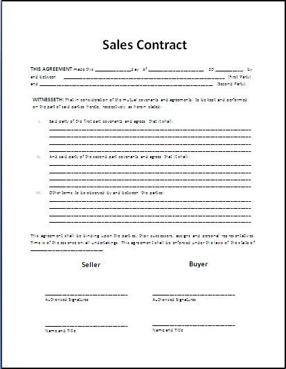 Contract Template Sales Contract Free Printable Documents