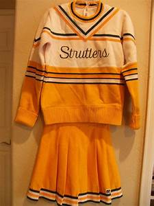 Vintage Cheerleading Uniform-Green and yellow outfit-Sweater and skirt-Strutters-packers ...