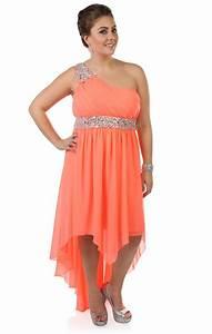 Deb Shops #neon #coral plus size beaded one shoulder ...
