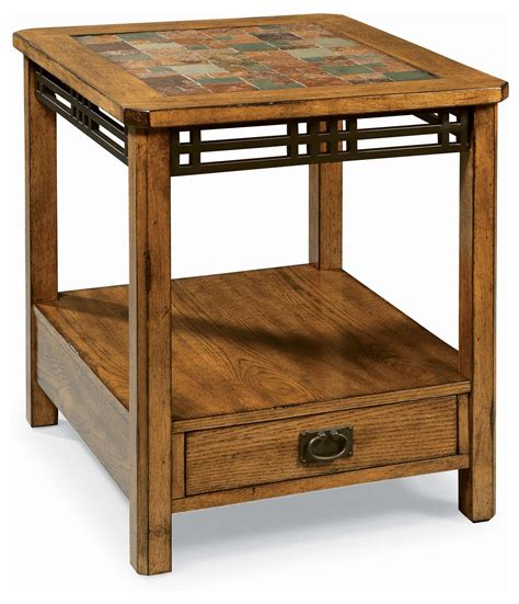 wooden table with tile top end tables designs american craftsman oak tile top end
