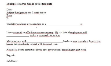 two weeks notice template 40 two weeks notice letters resignation letter templates
