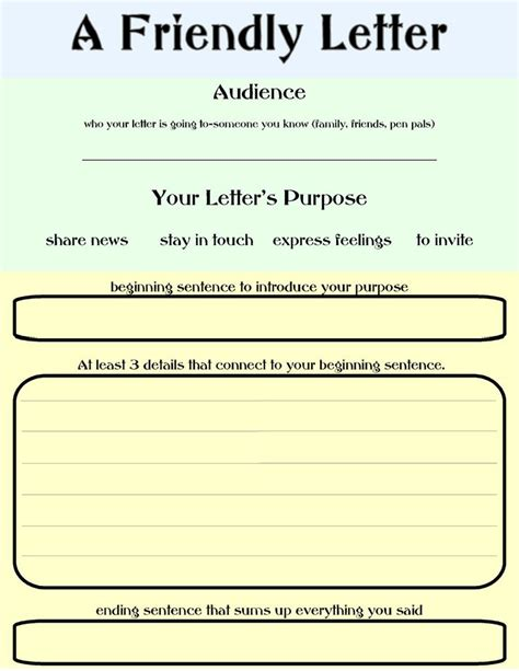friendly letter template elementary education