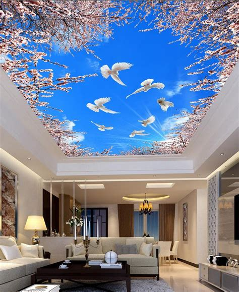 wallpaper mural photo wallpaper cherry blue sky ceiling