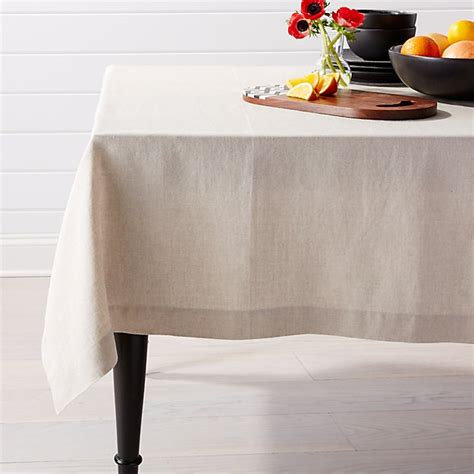 """Helena Dark Natural Linen Tablecloth 60""""x144""""  Crate And"""