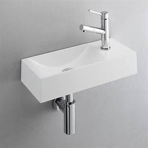 Lave Main Original : lave mains design plat 45x19 cm resine blanc robinet ~ Edinachiropracticcenter.com Idées de Décoration