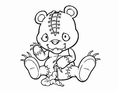 Scary Bear Teddy Coloring Pages Horror Coloringcrew