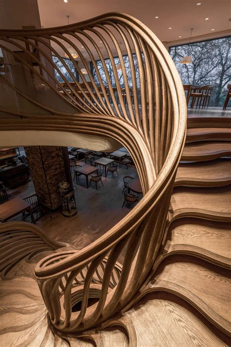 amazingly sculptural wood staircase