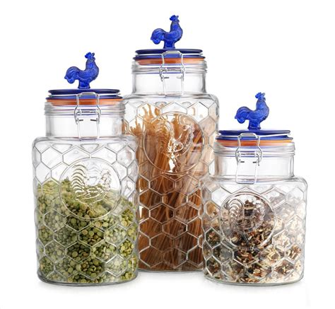 clear glass canisters for kitchen country kitchen rooster canisters set of three 3