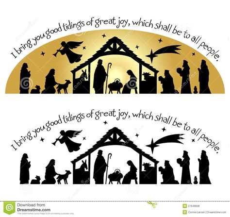 nativity christmas silhouetteeps stock vector image