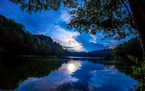 wallpaper full moon reflections lake forest  nature