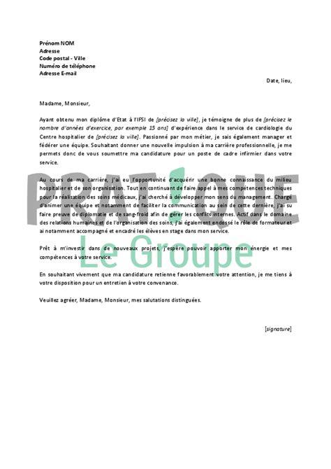lettre de motivation pour un emploi de cadre infirmier confirm 233 pratique fr