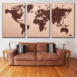 new 3 pcs set creative coffee bean world map canvas With best brand of paint for kitchen cabinets with home decor canvas wall art