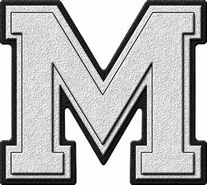 Presentation Alphabets: White Varsity Letter M