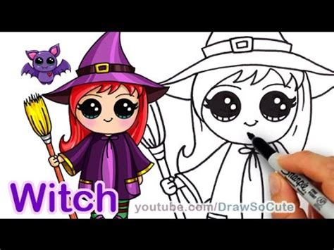 draw  cute girl witch step  step halloween