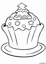 Coloring Pages Cake Christmas sketch template