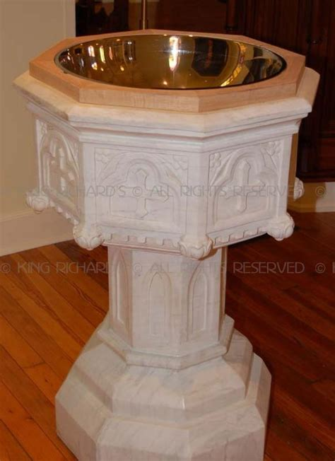 gothic  hand carved marble baptismal font