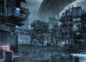 Poster cyberpunk futuristic city rain factory Home