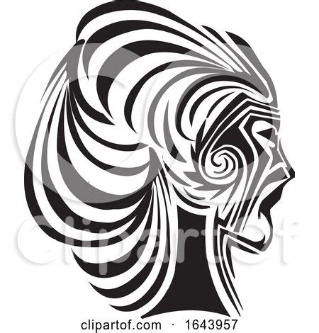 black  white womans face  profile tribal tattoo