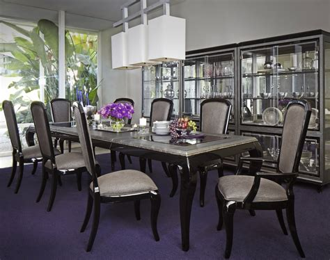 Michael Amini After Eight Formal Dining Room Set Black