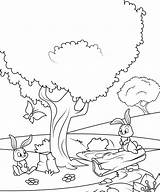 Tree Under Rabbits Categories Rabbit Coloring sketch template