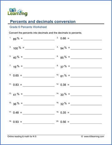 converting decimals to percents worksheets percent